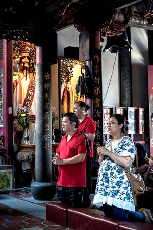 worshipers in Taiwan Fu City God Temple