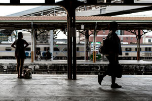 Two women on platform