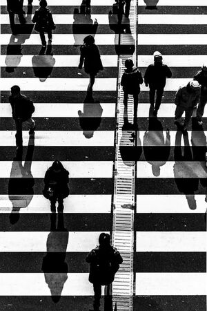 People on white lines