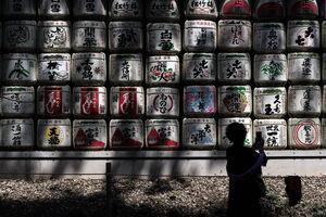 Silhouette in front Sake barrels