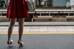 Red skirt on platform