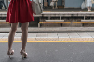 Red skirt on platform