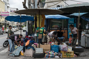 Stall selling second hand clothing