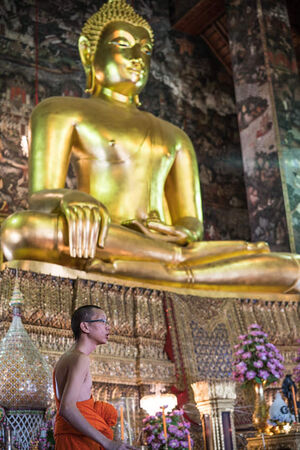 Buddhist monk in front of Buddha image