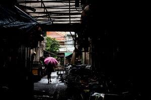 Striped umbrella in lane