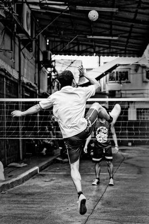 Man playing Sepak takraw