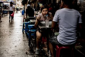 Woman eating noodles