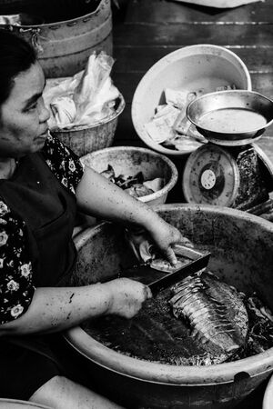 Woman cutting fish