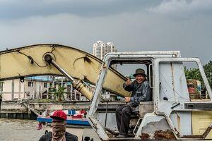 Man thumbing up on excavator
