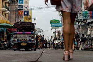 Legs walking Khaosan road