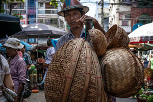 Man peddling baskets