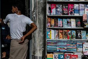 Books lining bookshelf