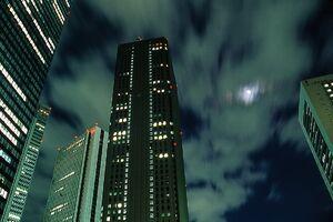 Moon between skyscrapers in Shinjuku