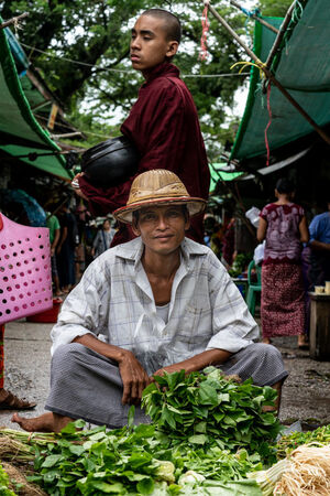 Vegetable seller and Buddhist monk