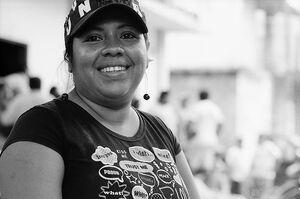 Happy woman wearing cap