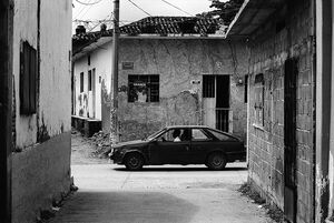 Car in desolate street