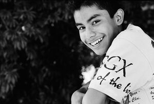 Refreshing smile of boy