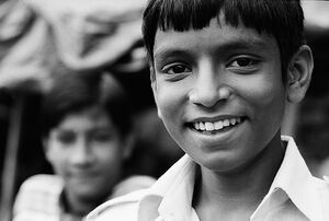 Boy showing teeth