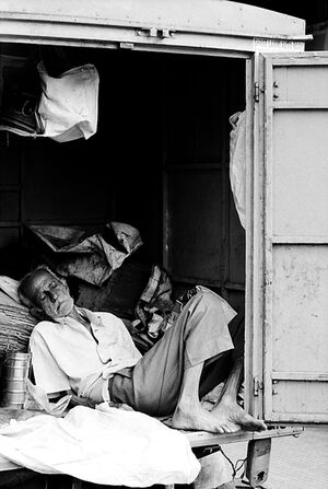 Man sleeping in storage