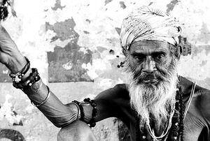 Sadhu wearing bracelets