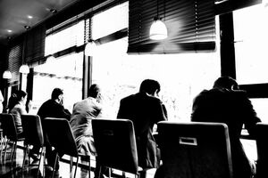 Businessmen in cafe