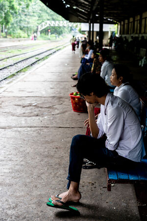 People waiting for train in Phaya Lan Train Station