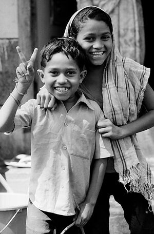 Cheerful boy and girl