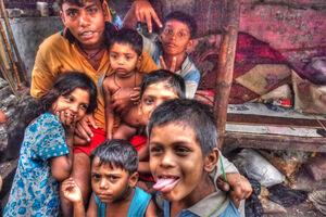 Man and children