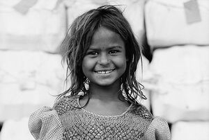 Girl with uncombed hair