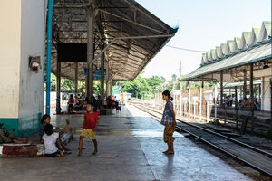 Kids playing on platform of Yangon Central Station