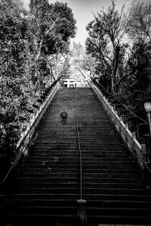 Businessman on steep stairway to Atago Jinja