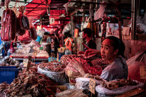 Woman selling dried fishes in Khlong Toei Market
