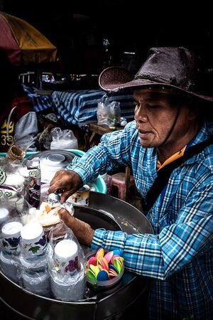 Ice cream seller in Khlong Toei Market