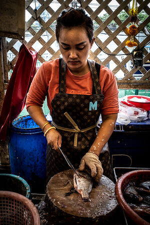 Woman wearing a Louis-Vuitton-like apron in Khlong Toei Market