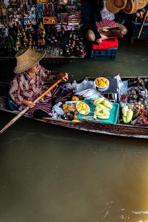 Souvenir shop and fruit shop in Damnoen Saduak Floating Market