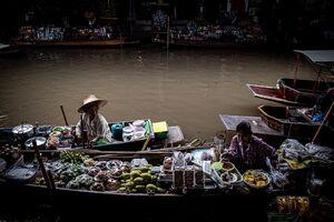 Various fruits on the boat in Damnoen Saduak Floating Market
