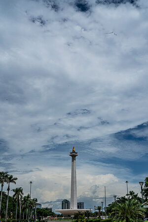 Monas towering in the distance