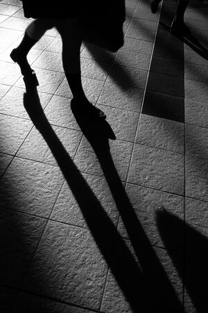 Shadow of leg in sation