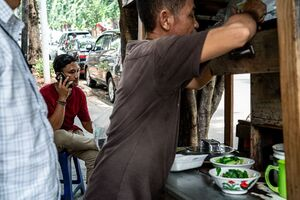 Food stall in a street corner of Jakarta