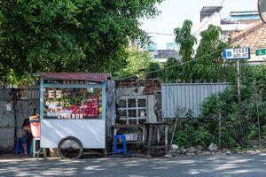 fruit stand in a residential area