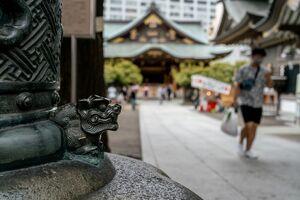 Guardian dog at Torii of Yushima Tenjin
