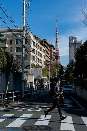 Tokyo Tower seen from Torii-zaka