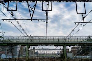 Overpass seen beyond the overhead wires