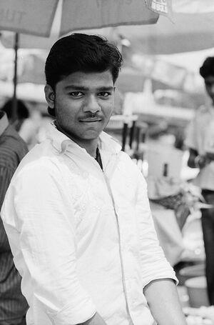 Eyes of street vendor
