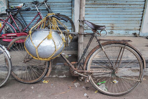 Bicycle with container