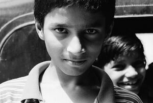 Keen eyes of boy