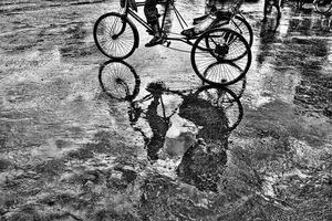 Shadow of cycle rickshaw