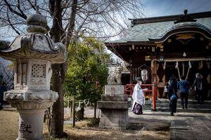 Shinto priest in Sanya Hachiman Jinja