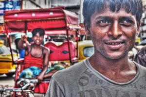 Man taking gaze off