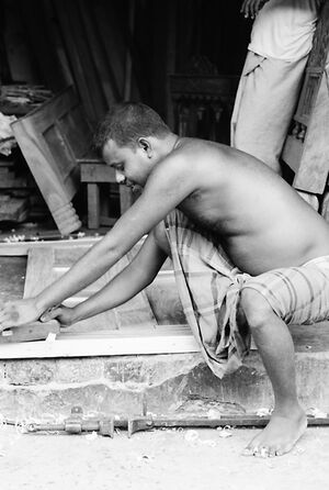 Man making furniture